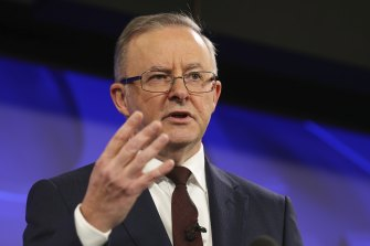 Opposition Leader Anthony Albanese during his address to the National Press Club of Australia in Canberra on July 2.